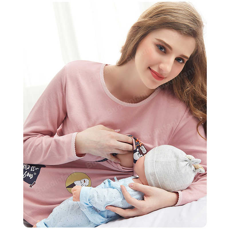 maternity sleepwear Top pregnant nursing pajamas for pregnant women nightgown breastfeeding maternity sleep home clothing cotton