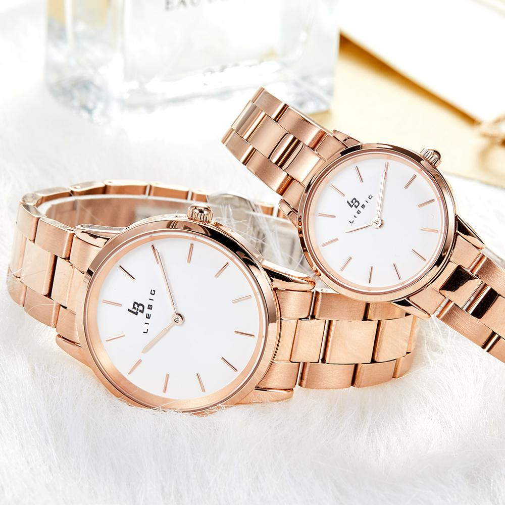 LIEBIG Simple <font><b>Couple</b></font> <font><b>Watch</b></font> Waterproof <font><b>Men</b></font> <font><b>Ladies</b></font> Wristwatch Stainless Steel Clock Rose Gold Quartz Lover <font><b>Watches</b></font> erkek kol saati image
