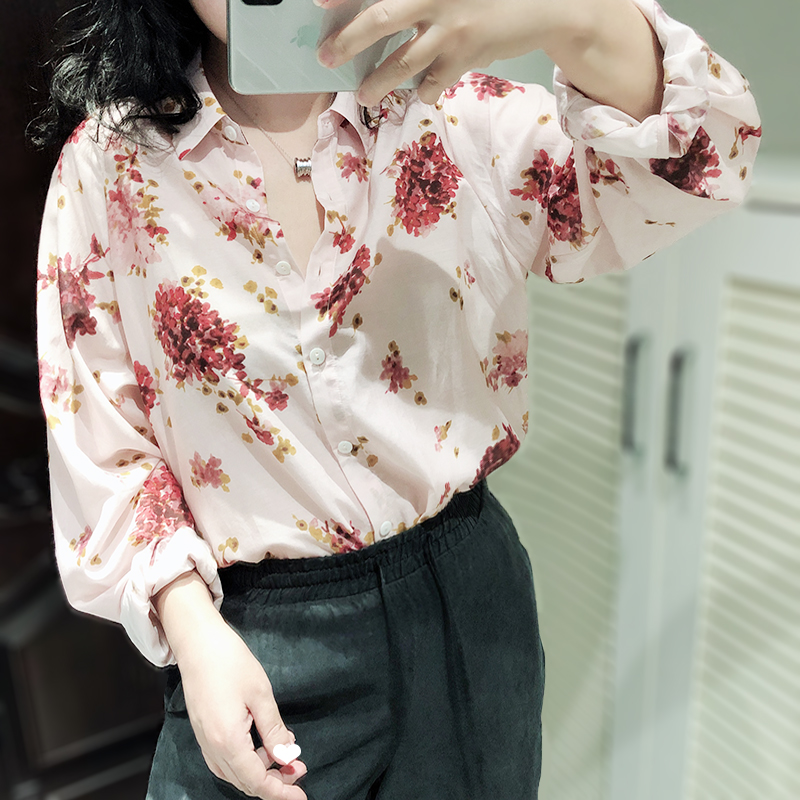 Early Autumn Women'a shirt Flower Printted Blouse Turn Down Collar Long Sleeve floral ladies blouses and tops with Buttons sweet