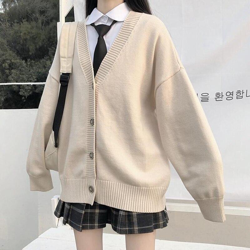 College Wind Loose V-neck Cardigan 2020 New Lazy Wind Sweater Female N Outer Wear JK Sweater Coat Japanese School Uniform