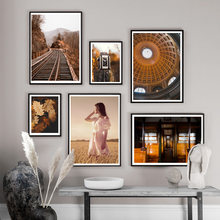 Train Road Camera Wheat Girl Dome Leaves Wall Art Canvas Painting Nordic Posters And Prints Wall Pictures For Living Room Decor