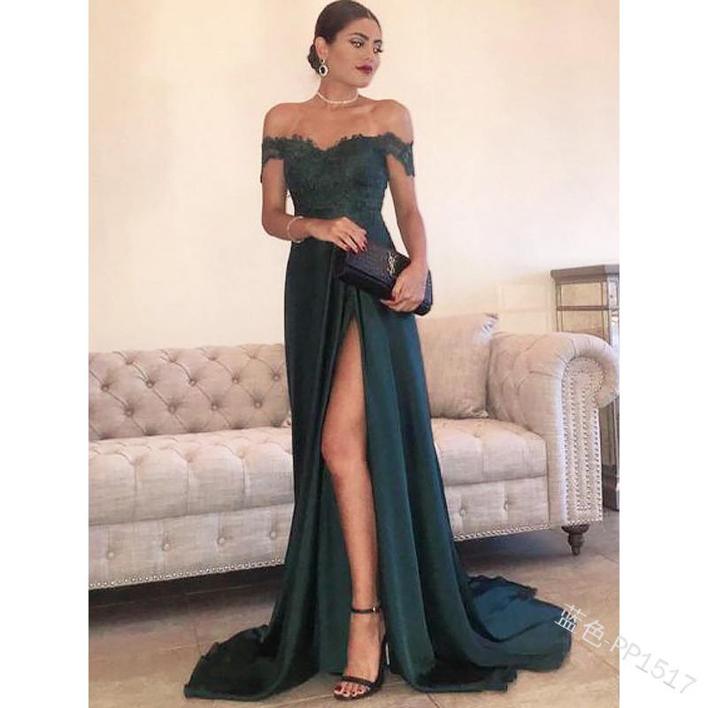 2019 Ozhouzhan Hot Selling WOMEN'S Dress Solid Color Lace Off-Shoulder Slit Sexy Long Skirts Evening Gown Pp1517