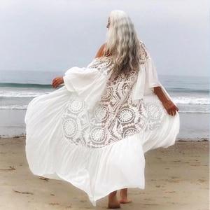 Image 4 - Mesh cover ups 2020 White beach wear women Ruffles kimono swimsuit cover up Long beach dress Summer bathing suits bathers new