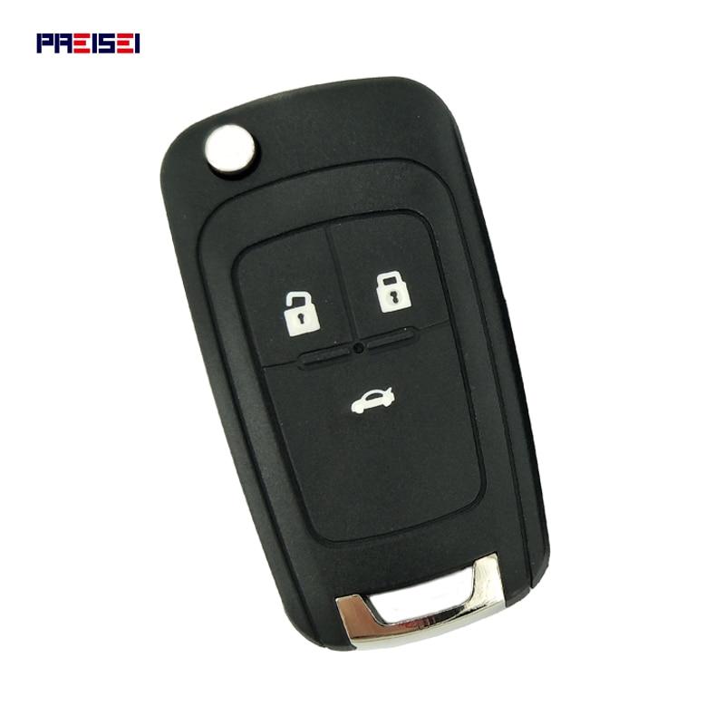 Запасной ключ замка зажигания PREISEI, складной пульт дистанционного управления для автомобиля с 3 кнопками и твердым чехлом для Chevrolet Cruze, Epica, ...