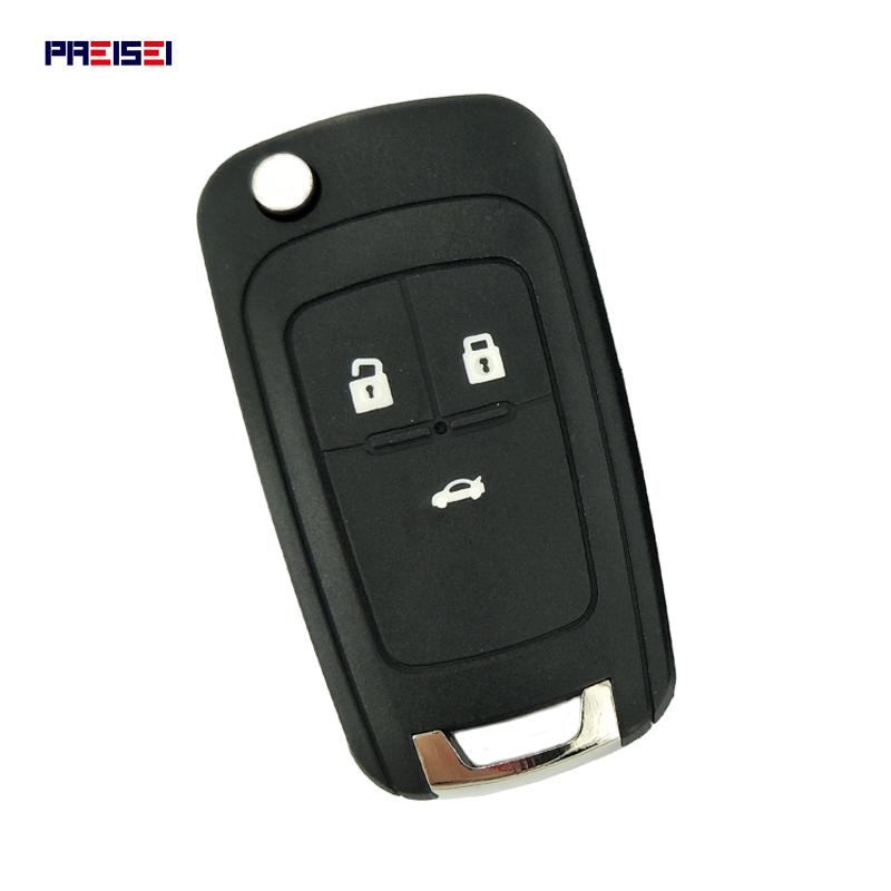 PREISEI 3 bouton remplacement rabattable à distance voiture clé coque étui pour Chevrolet Cruze Epica Lova Camaro Impala Aveo