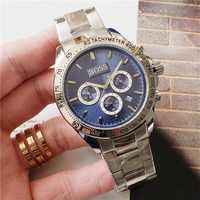Часы BOSS Роскошные мужские часы все указки рабочие функциональные хронограф кварцевые часы ремешок из нержавеющей стали водонепроницаемый ...
