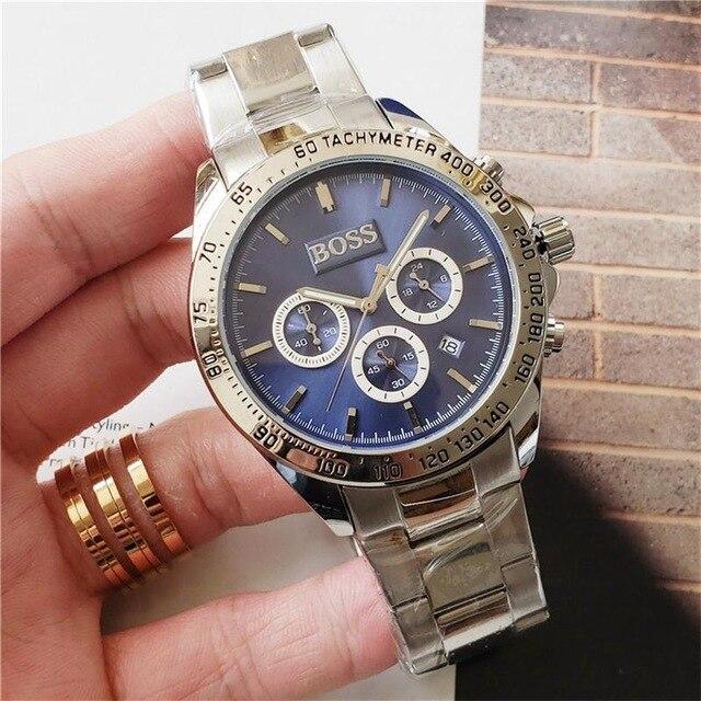 BOSS Watch Luxury Mens Watches All Pointer Work Functional Chronograph Quartz Watch Stainless Steel Strap Waterproof Designer