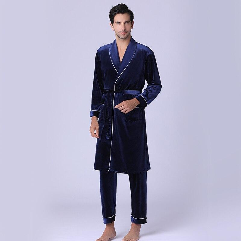 Nightgown Men Autumn Winter Velvet Bathrobe South Korean Velvet Pajamas Men Long Thick Home Wear Two Pieces