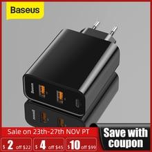 "Baseus 3 יציאות USB מהיר מטען 60W תמיכה טעינה מהירה 4.0 3.0 סוג C פ""ד מטען QC 4.0 3.0 טלפון מטען ForHUAWEI ForXiaomi"