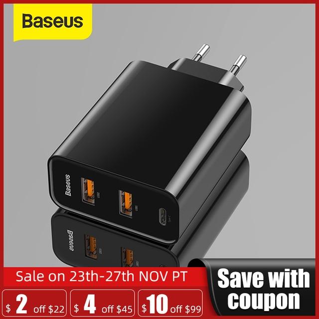 Baseus 3ポートusb急速充電器60ワットサポート急速充電4.0 3.0タイプc pd充電器qc 4.0 3.0電話充電器forhuawei forxiaomi