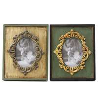 2pcs Creatives Retro Vintage Antique Wooden Craft Photo Frame European Picture Frames Tabletop Decoration Valentines Day Gifts