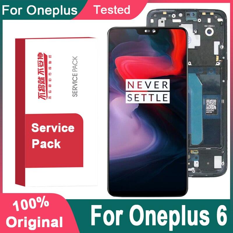 Оригинальный сменный дисплей 6,28 дюйма Amoled с рамкой для Oneplus 6 LCD кодирующий преобразователь сенсорного экрана в сборе для One Plus 6 LCD Screen