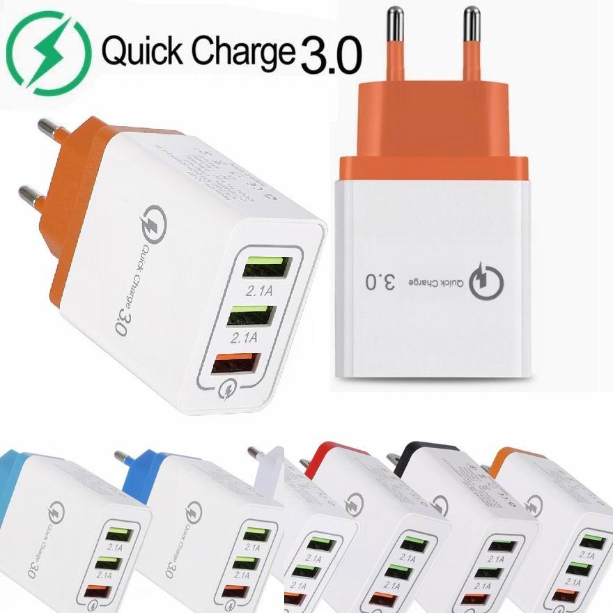 3USB 3 ポート QC3.0 急速充電器 18 ワット qc 3.0 USB 高速充電サポートスマート高速壁充電アダプタサムスン IPHONE の HUAWEI 社  グループ上の 携帯電話 & 電気通信 からの 携帯電話用充電器 の中 1