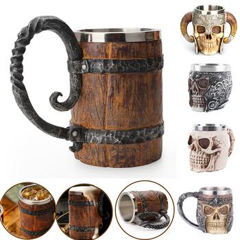 Nowy 500ml Viking Wood style kufel do piwa podwójna ściana izolowane kufel na piwo kubki do wina filiżanka do herbaty mleka i kawy ozdoby świąteczne 2021 tanie i dobre opinie VKTECH CN (pochodzenie) Other Kubki do piwa Wyraża osobowość Bez elementów Uchwyt CE UE Mugs Beer Na stanie Ekologiczne