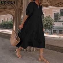 Summer Dress Vintage Sexy Lantern Sleeve Mid-Calf Dress VONDA 2020 Women' Sundress Casual Bohemian Beach Vestidos Plus Size