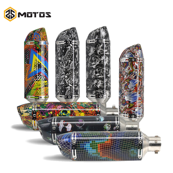 ZS MOTOS Universal 51mm dirt bike Motorcycle Exhaust Muffler Escape Moto Mufflers Graffiti Exhaust Pipe For FZ6 CBR250 CB600 R1
