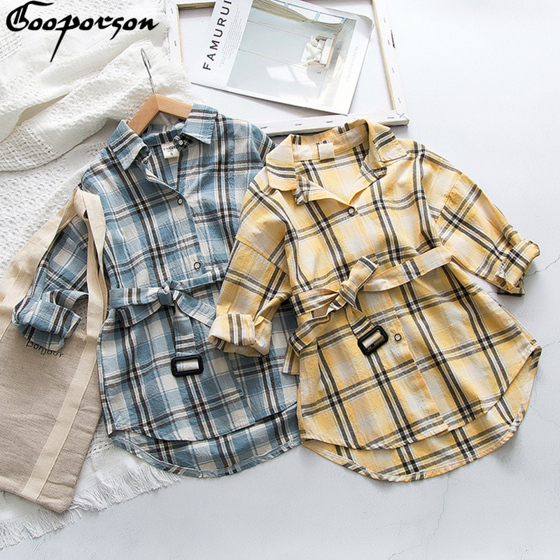 Autumn Long Sleeve Shrit Little Girls Plaid Blouse Spring Fashion Long Tops With Waistband Toddler Girl Costume Cute Outfits