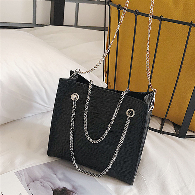 High-quality PU Leather Bags For Women Solid Lady's Handbag Simple Fashionable Large Capacity Casual Travel Simple Chain New