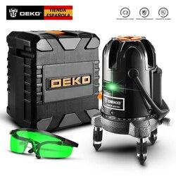 Deko DKLL5 5-Lijn 6-Punt Horizontale & Verticale Laser Niveau Groene Horizontale Laser Niveau 360 Self-nivellering Hoge Zichtbaarheid