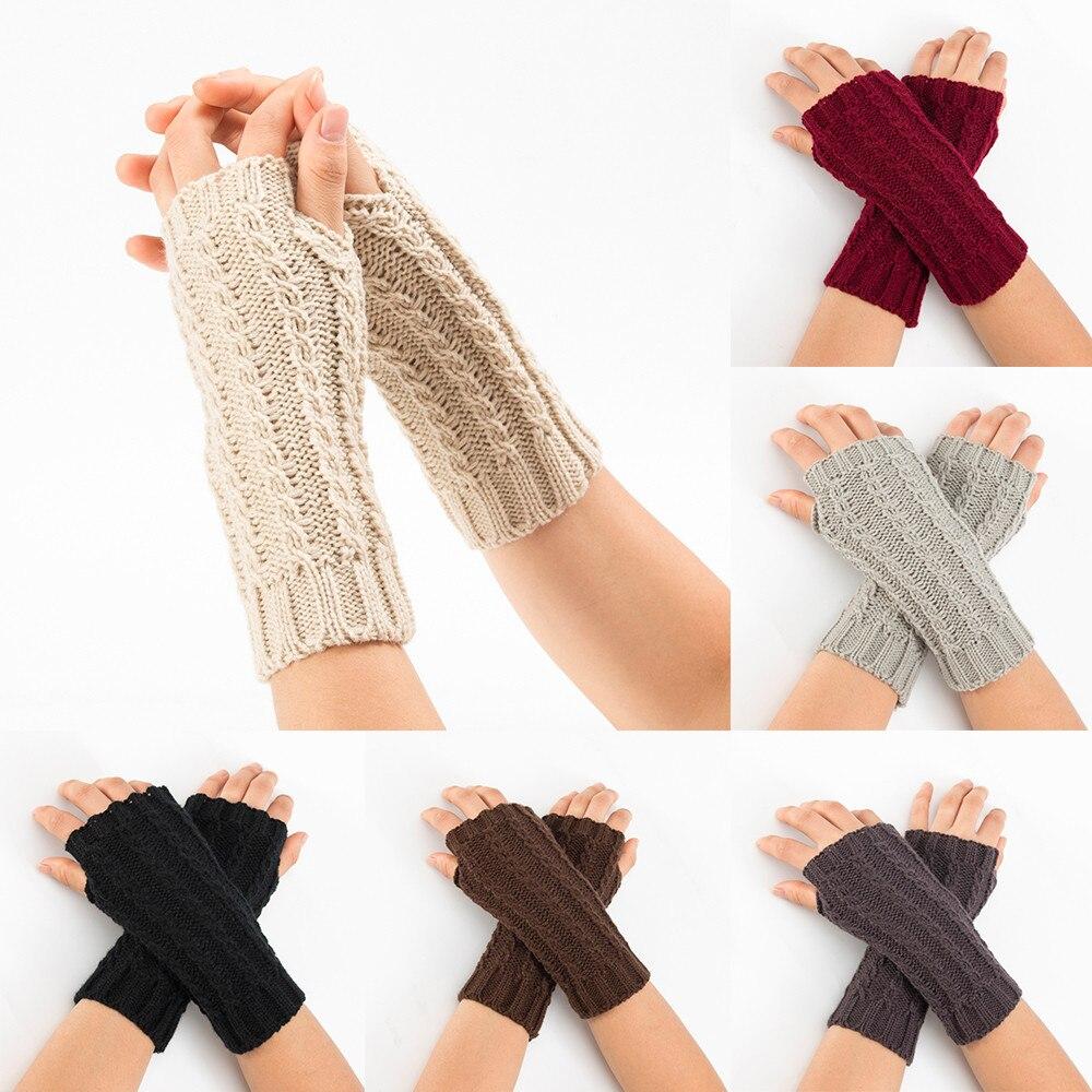 Long Knitted Gloves Fingerless Women Winter Wrist Arm Warmer Classic Elegant Ladies Gloves New Fashion Mitten Free Shipping