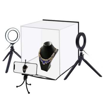 PULUZ PU5130 30cm Photo Softbox Portable Folding Studio Shooting Tent Box + 4.6 inch Ring LED Light Kits with 6 Colors Backdrops