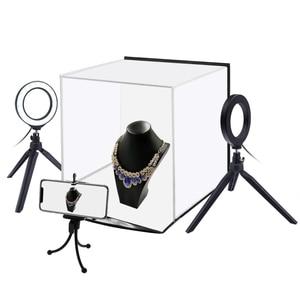 Puluz pu5130 30cm softbox portátil, foto softbox, estúdio, dobrável, tenda de tiro + anel de 4.6 polegadas, kits de luz led com backdrops de 6 cores,