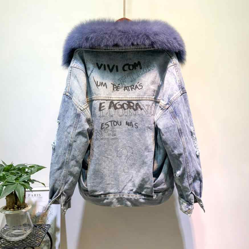Winter Fashion Warm Natural Fox Fur Collar coats + Real Rabbit Hair Liner Denim Jacket Female beading Thick Real Fur Outwear F25