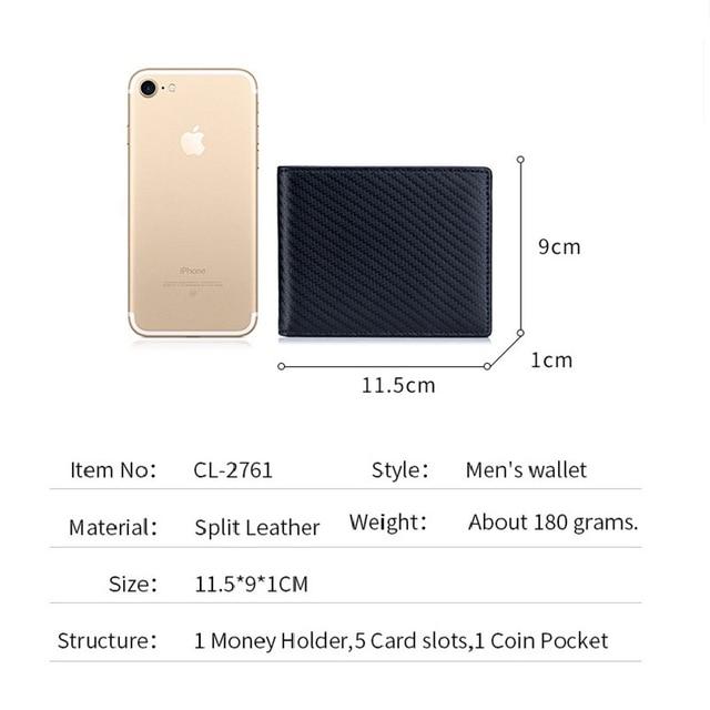High Quality RFID Blocking Man Carbon Fiber Thin Wallets Microfiber Slim Bank Credit Card Holder For Male Simple Short Purse 5