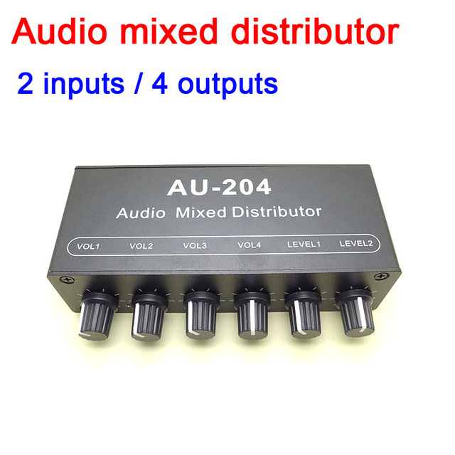 dc 5v  12v Stereo audio Signal Mixer Board 2 Way Input 4 Way Output Drive headphone power amplifier Mixing AMP Tone Control