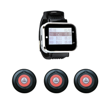 Waiter Pager Call-Customer 1-Watch-Receiver 3-Buttons-Transmitter Restaurant for 1-watch-receiver/3-buttons-transmitter/Frequency/..