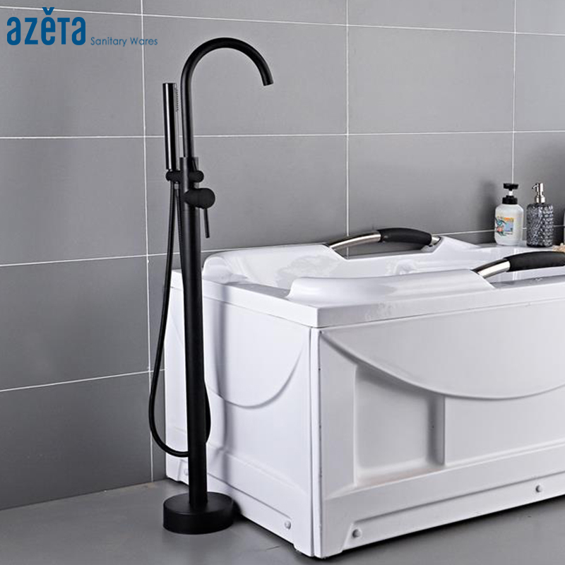 Azeta Black Bathroom Floor Stand Bathtub Faucet Tap With 360 Rotate Hand Shower Single Handle Bathtub Shower Faucet Set MK6611B