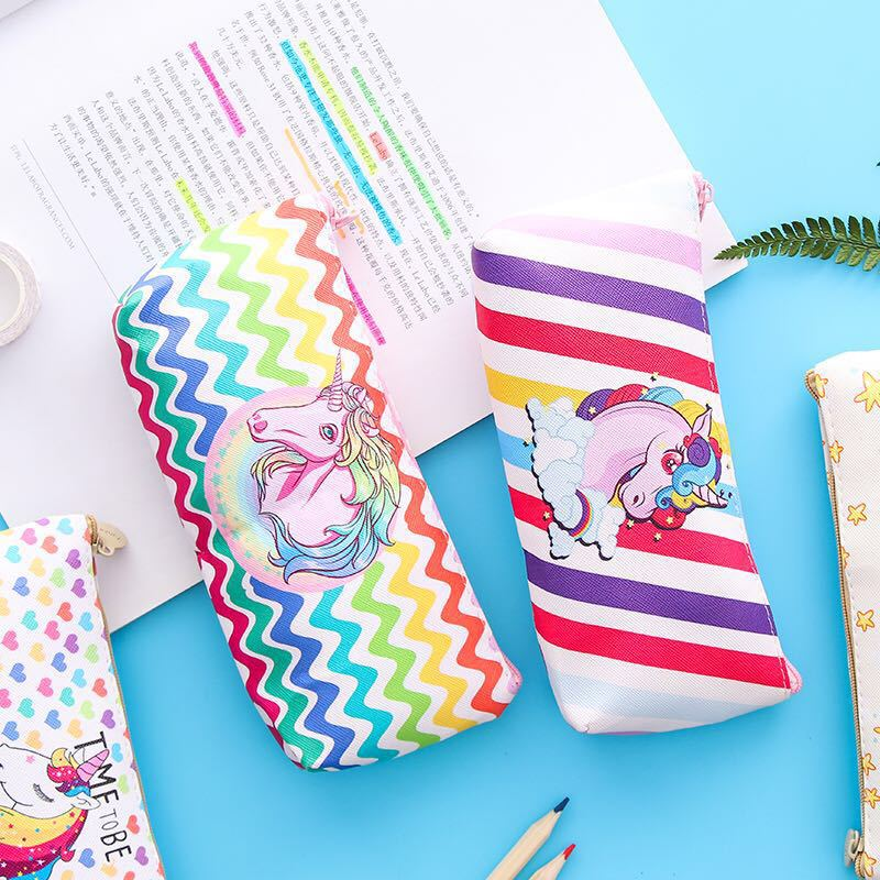 Japanese-style GIRL'S Soft Girl Leather Rainbow Unicorn Pencil Case Students Stationery Box Storage Bag Hipster Pencil Case Wome