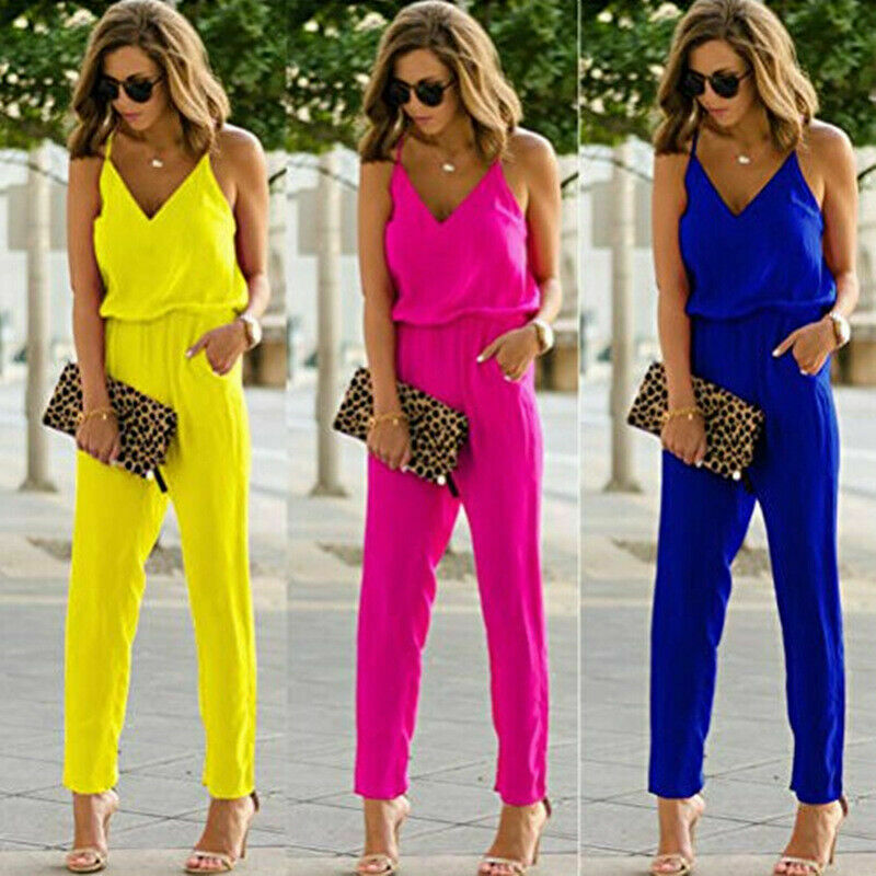 2020 Women Holiday Casual Loose Jumpsuit Ladies Long Pant Trouser Summer Beach Party Strappy Romper Trousers
