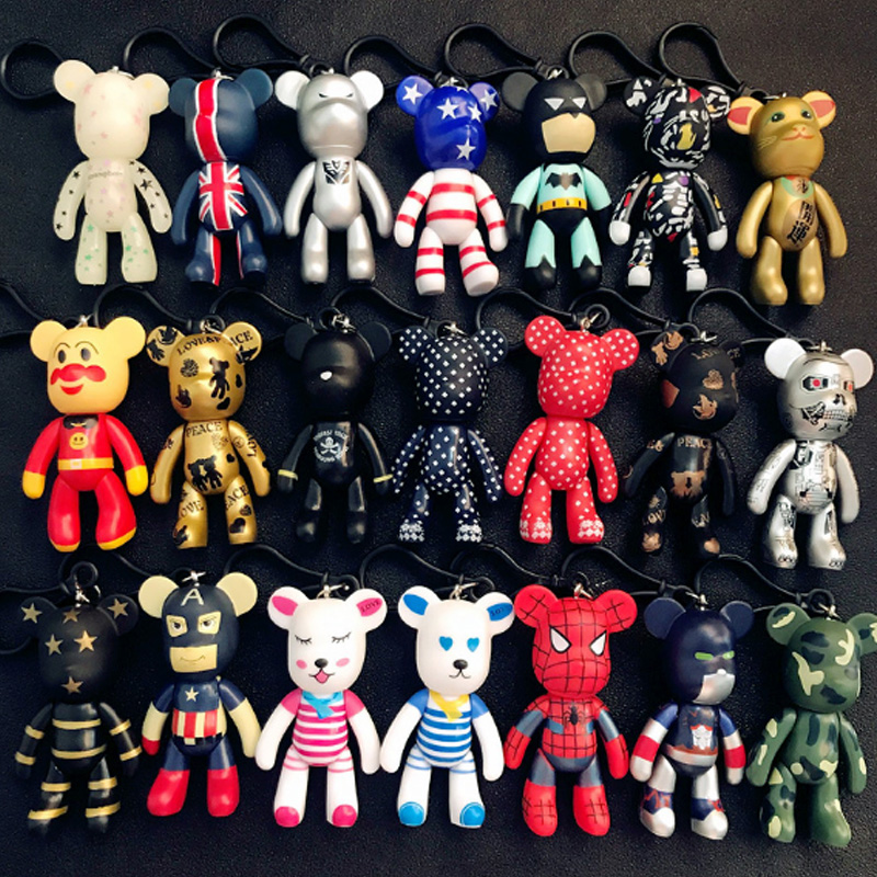 Fashion Korea Cute Creative Violence Bear Key Chain Car Key Chain Pendant Cartoon Buckle Men And Women Gifts Wholesale