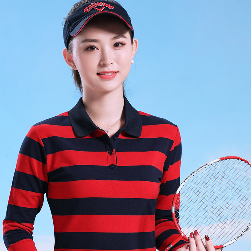 Women's Dry Long Sleeve Golf Polo Juniors'  Cotton Plus Size Patch Junior's Stripe Jersey Polo Shirts