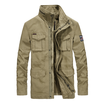 2019 Men Clothing Brand Military Jacket Men Cotton Stand Collar Embroidery Medium-long Autumn Jacket For Male