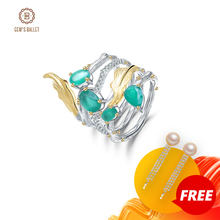 GEMS BALLET 2.26Ct Natural Green Agate Gemstone Finger Rings 925 Sterling Sliver Fashion Band Ring For Women Gift Fine Jewelry