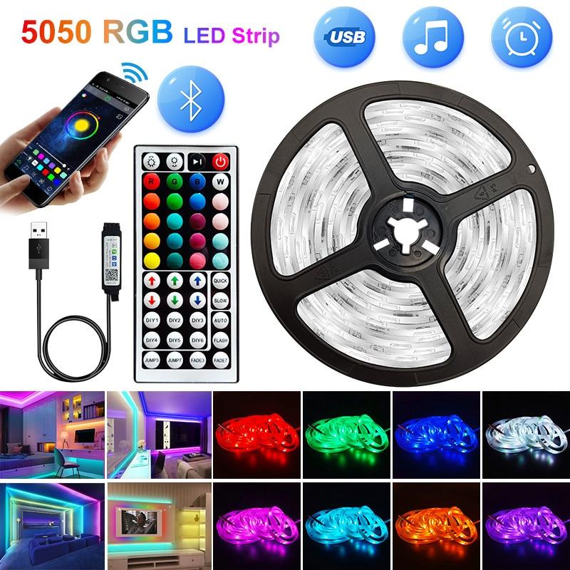 Led Diode Ribbon-Lamp Led-Strips-Lights Decoration Bedroom Tv-Backlight Bluetooth Waterproof Rgb