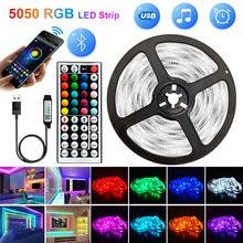 5V WIFI USB Bluetooth 1M-30M 5050 tiras de Led USB Luz impermeable RGB cinta de diodos Led lámpara para decoración de dormitorio de fondo