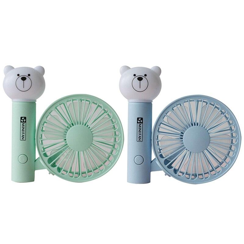 2 Pcs Portable Handheld Fan Summer Home Small Fan Cute Cartoon Bear Usb Charging Fan Study Table Lamp Fan   Green & Blue|Fans| |  - title=