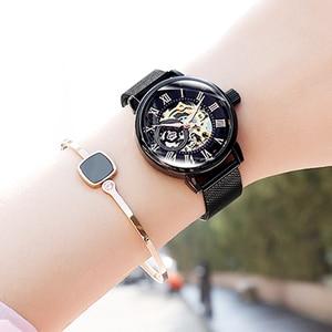 Image 4 - Reloj mecánico automático de acero inoxidable para Mujer, cronógrafo de plata 2019, con correa de acero inoxidable