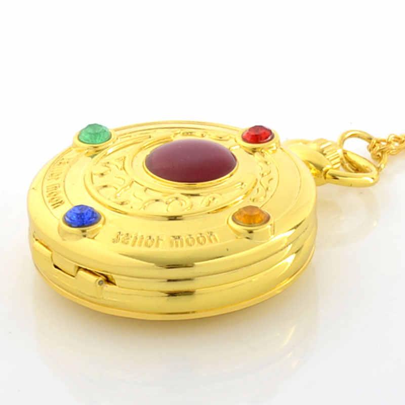 Di nuovo Modo Sailor Moon Oro di Cristallo Uomini Delle Donne Del Pendente Della Collana di Fascino Della Vigilanza di Tasca Del Quarzo Orologio Regalo