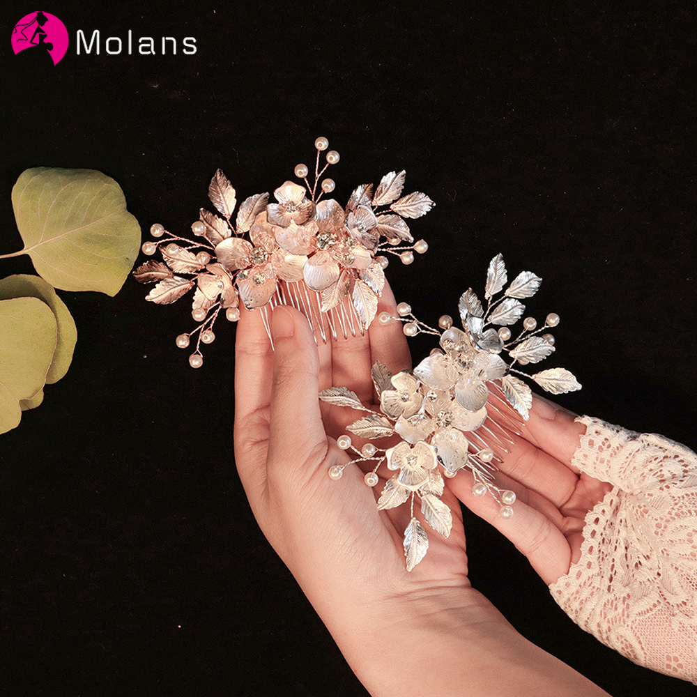 Molans Luxury Pearl Crystal Wedding Hair Combs Hair Accessories for Bridal Women Flower Headpiece Bride Hair ornaments Jewelry