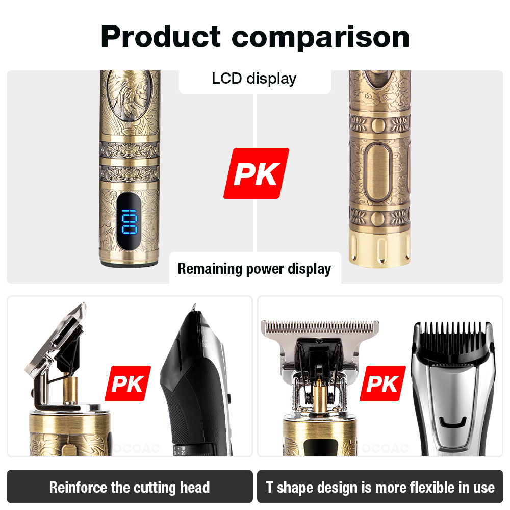 LCD Hair Clippers Professional Hair Cutting Machine Hair Beard Trimmer For Men Barber Shop Electric Shaving T-Outliner Men 5