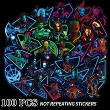 100PCS Luminous Marvel Hero Sticker Cartoon Graffiti Sticker Suitcase Luggage Laptop Guitar Stickers Waterproof  Stickers