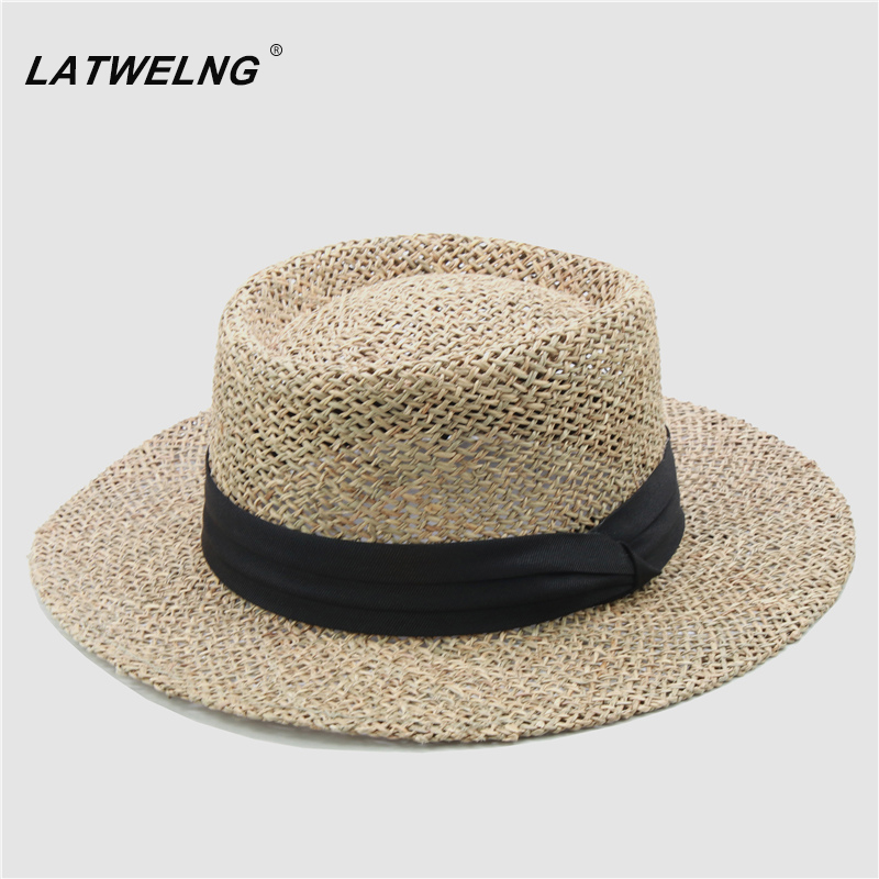 Fashion Model Top Vacation Hollow Breathable Sun Visor Hat Women Green Straw Beach Hats Hard Brim Panama Hat Wholesale