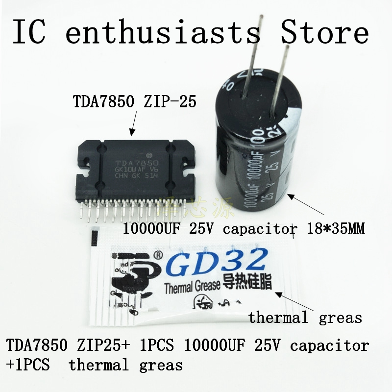100%NEW ORIGINAL TDA7850 ( 4 X 50w ) 1PCS TDA7850 TDA 7850 Gift: ( 1PCS  10000UF 25V Capacitor +1bag Thermal Grease )