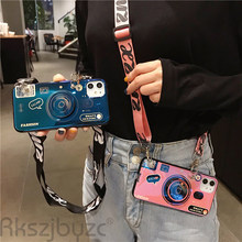Camera Lanyard Case untuk iPhone 6S 7 Plus X XS untuk Huawei P20 P30 Mate 20 30 Pro fashion Grip Stand Pemegang Silikon(China)