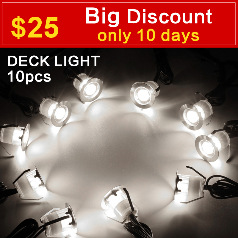 LED Deck Lights Kit Stainless Steel Waterproof Outdoor Garden Yard Decoration Garden Lamp Recessed Wood Deck Stairs Light 10pcs