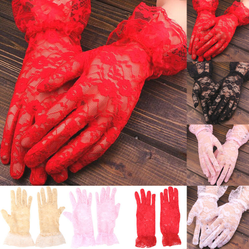 Elegant Ladies Lace Short Gloves Costume Women`s Solid Color Cream Prom Party Ball Gloves